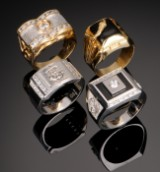 Fire herreringe af guld og hvidguld 18 kt. - 42,5 gram (4)