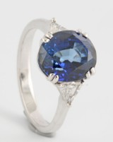 18kt Burma sapphire and diamond ring, 18kt. white gold, approx. 0.25ct and 5.17ct
