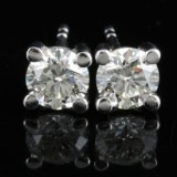 Earrings in 18k set with brilliant cut diamonds 1.00 ct