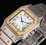 Cartier Santos Automatic. Men's watch, 18 kt. gold and steel with date