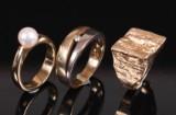 Vintage ringe af 14 kt. guld med diamant og perle (3)