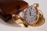 Longines pocketwatch, 14 kt with leather box and box