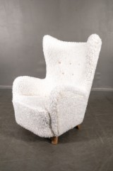 Attributed to Mogens Lassen, wing chair, in 'teddy' fabric