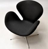 Arne Jacobsen. The Swan easy chair, model 3320, black Tonus wool