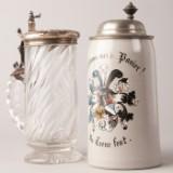 Zwei Bierkrüge, um 1900, Deckel aus Zinn und 800er Silber (2)