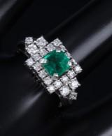 Vintage smaragd- og brillantring af platin. 1900-tallets midte