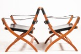 Poul Hundevad, two rare Safari chairs/folding chairs Campaign Chair model PH 70 in teak, brass, and leather (2)
