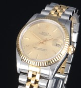 Rolex Datejust midsize ladies' watch, 18 kt. gold and steel, champagne-coloured dial, c. 2000
