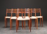 Niels O. Møller. Six chairs, model 78, rosewood and wool (6)
