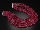 Ruby and diamond necklace, multi-strand, 14 kt. white gold, total approx. 1,290.00 ct