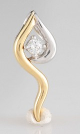 Pendant in 18k bicolour gold with diamond 0.08ct