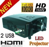 Video projector Full HD 3D led LCD Projector 1080P m/ 3 HDMI 2USB.