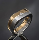 Diamond men's ring, approx. 0.17 ct.
