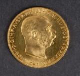 Østrig. Guldmønt 100 Coronas 1915