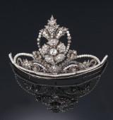 A rare diamond tiara with diamonds and pearls, c. 1860