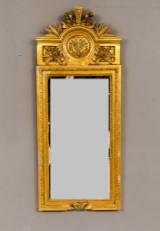 Spegel 1900-tal förgyllt trä, rosett krön