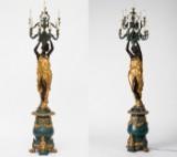 Pair of standard lamps, candelabras, bronze figurines, Roman/Greek statue (2)