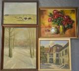 Samling malerier bl.a. Aage Wang, Harriet Hansen, olie på lærred, div. motiver (4)