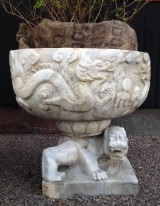 Urn / planter on foot, marble with grey and brown mineral inclusions, China