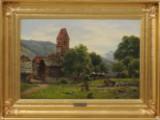 August Fischer, oil on canvas, Mediterranean landscape