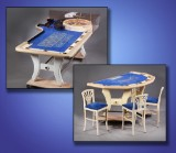 John Huxley Roulette for seven players, Caro Black Jack table,  nine chairs, white-varnished wood (11)