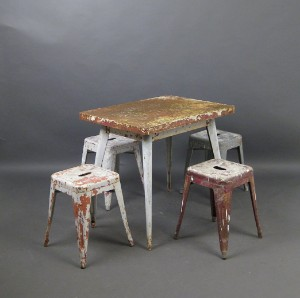 lot 4395135 xavier pauchard vintage metal dining table. Black Bedroom Furniture Sets. Home Design Ideas
