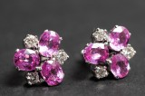 Earrings with pink sapphire and diamonds