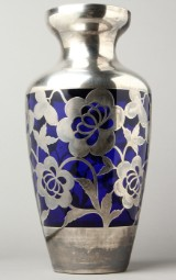 A vase, silver overlay/glass