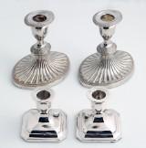 Carl Forsmann m.fl. To par lysestager i sølv og sølvplet (4)