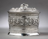 Indian lidded container, silver decorated wtih several figures, 20th century