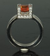 Ring, 18K white gold with fire topaz and diamonds, design by Ateljé 15