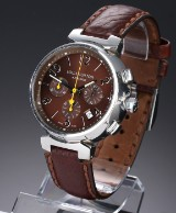 Louis Vuitton 'Tambour Chronograph'. Men's watch in steel with brown dial with date display, 2000s