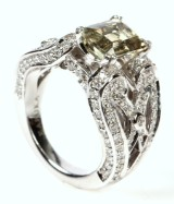Zultanite and diamond ring, 17.76 kt, white gold, 12.6 g