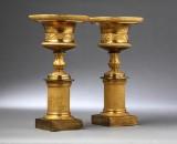 Et par Charles X bloklysestager / opsatse, forgyldt bronze, ca. 1820