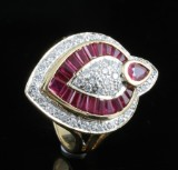 18kt diamond and ruby ring approx. 0.50ct
