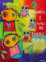 Saline. 'Anytime Anywhere I Will Be There', akryl på lærred