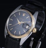 Vintage Rolex 'Air-King Precision' men's watch, 18 kt. gold and steel, black dial, c. 1966