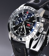 Chopard 'Mille Miglia GMT'. Men's chronograph in steel with black dial, c. 2004