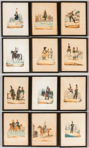 grafik farblithographien historischer uniformen 12 de hamburg gro e elbstra e. Black Bedroom Furniture Sets. Home Design Ideas