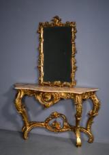 Forgyldt spejl samt konsol med marmor