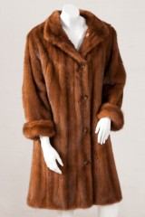 Short coat/reversible coat, mink and silk, size 42