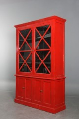 Two-section display cabinet, red paint finish