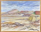 Mogens Høver, olie på lærred, motiv fra byggeplads af Tuborg havn, 'Udgravningen'