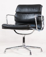 Charles Eames. Soft Pad armchair, model EA-207, black leather
