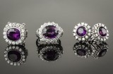 Willy Junget. Amethyst and brilliant-cut diamond jewellery set, 18 kt. white gold (4)