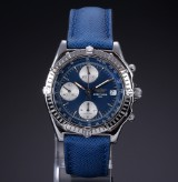 Breitling 'Chronomat' men's watch, steel, blue dial, 1990's