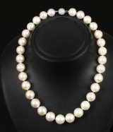 South Sea cultured pearl necklace with diamond ball clasp