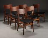 Dansk møbelproducent. Spisestole, nybetrukket (6)