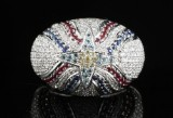 18kt diamond and gem Assyrian flag ring 1.69ct by designer