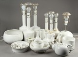 Kähler. Bordlamper, skåle m.m. med hvid glasur (26)